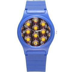 Pattern Background Yellow Bright Round Plastic Sport Watch (s) by Onesevenart
