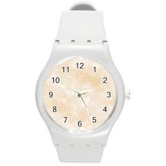 Pattern Background Beige Cream Round Plastic Sport Watch (m) by Onesevenart
