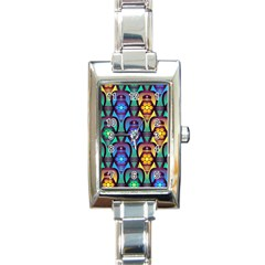 Pattern Background Bright Blue Rectangle Italian Charm Watch by Onesevenart
