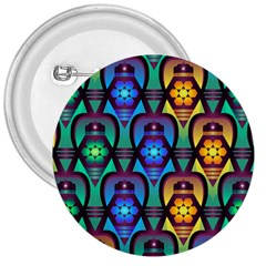 Pattern Background Bright Blue 3  Buttons by Onesevenart