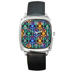 Pattern Background Bright Blue Square Metal Watch by Onesevenart