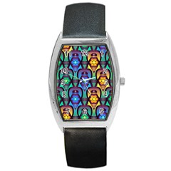 Pattern Background Bright Blue Barrel Style Metal Watch by Onesevenart