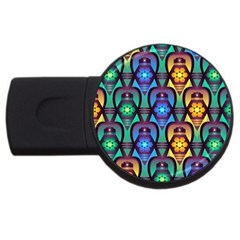 Pattern Background Bright Blue Usb Flash Drive Round (4 Gb) by Onesevenart
