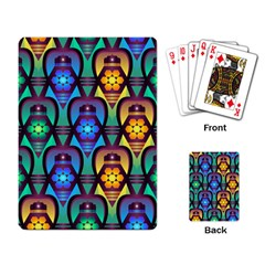 Pattern Background Bright Blue Playing Card by Onesevenart