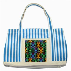 Pattern Background Bright Blue Striped Blue Tote Bag by Onesevenart