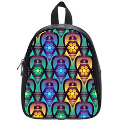 Pattern Background Bright Blue School Bags (small)  by Onesevenart