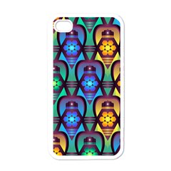 Pattern Background Bright Blue Apple Iphone 4 Case (white) by Onesevenart