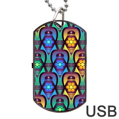 Pattern Background Bright Blue Dog Tag Usb Flash (two Sides) by Onesevenart