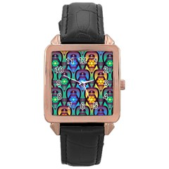 Pattern Background Bright Blue Rose Gold Leather Watch  by Onesevenart