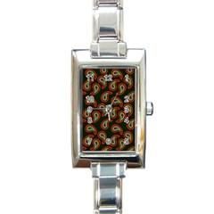 Pattern Abstract Paisley Swirls Rectangle Italian Charm Watch by Onesevenart