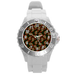 Pattern Abstract Paisley Swirls Round Plastic Sport Watch (l) by Onesevenart