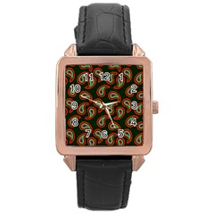 Pattern Abstract Paisley Swirls Rose Gold Leather Watch  by Onesevenart