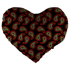 Pattern Abstract Paisley Swirls Large 19  Premium Flano Heart Shape Cushions by Onesevenart