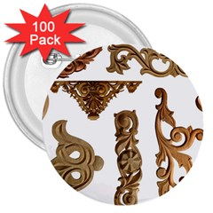 Pattern Motif Decor 3  Buttons (100 Pack)  by Onesevenart