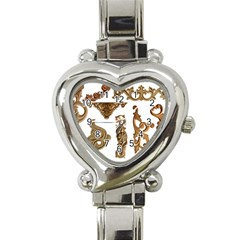 Pattern Motif Decor Heart Italian Charm Watch by Onesevenart