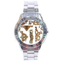 Pattern Motif Decor Stainless Steel Analogue Watch by Onesevenart