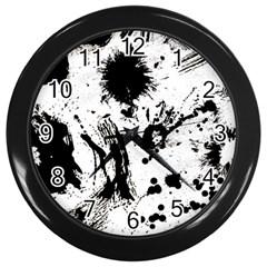 Pattern Color Painting Dab Black Wall Clocks (black) by Onesevenart