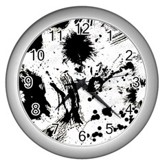 Pattern Color Painting Dab Black Wall Clocks (silver)  by Onesevenart