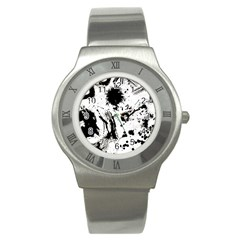 Pattern Color Painting Dab Black Stainless Steel Watch by Onesevenart