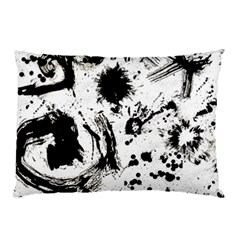 Pattern Color Painting Dab Black Pillow Case by Onesevenart