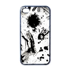 Pattern Color Painting Dab Black Apple Iphone 4 Case (black) by Onesevenart