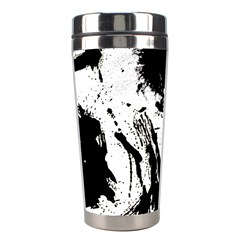 Pattern Color Painting Dab Black Stainless Steel Travel Tumblers by Onesevenart