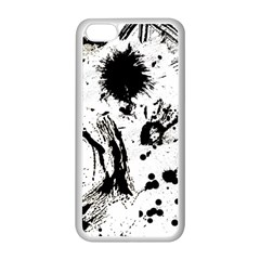 Pattern Color Painting Dab Black Apple Iphone 5c Seamless Case (white) by Onesevenart