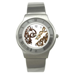 Pattern Motif Decor Stainless Steel Watch by Onesevenart