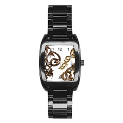 Pattern Motif Decor Stainless Steel Barrel Watch by Onesevenart