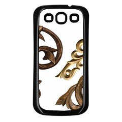 Pattern Motif Decor Samsung Galaxy S3 Back Case (black) by Onesevenart