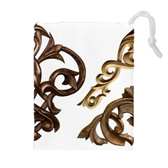 Pattern Motif Decor Drawstring Pouches (extra Large) by Onesevenart