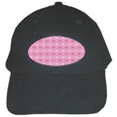 Pattern Pink Grid Pattern Black Cap by Onesevenart