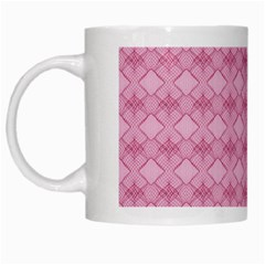 Pattern Pink Grid Pattern White Mugs by Onesevenart