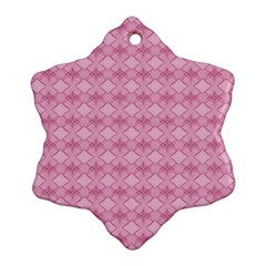 Pattern Pink Grid Pattern Snowflake Ornament (two Sides) by Onesevenart