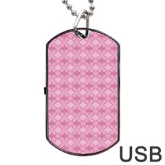 Pattern Pink Grid Pattern Dog Tag Usb Flash (two Sides) by Onesevenart