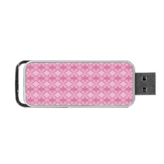 Pattern Pink Grid Pattern Portable Usb Flash (one Side) by Onesevenart