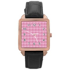 Pattern Pink Grid Pattern Rose Gold Leather Watch  by Onesevenart