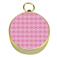 Pattern Pink Grid Pattern Gold Compasses by Onesevenart