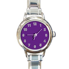 Pattern Violet Purple Background Round Italian Charm Watch by Onesevenart