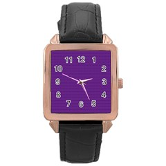 Pattern Violet Purple Background Rose Gold Leather Watch  by Onesevenart