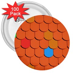 Roof Brick Colorful Red Roofing 3  Buttons (100 Pack)  by Onesevenart