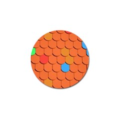 Roof Brick Colorful Red Roofing Golf Ball Marker (4 Pack) by Onesevenart