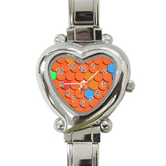 Roof Brick Colorful Red Roofing Heart Italian Charm Watch by Onesevenart