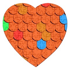 Roof Brick Colorful Red Roofing Jigsaw Puzzle (heart) by Onesevenart