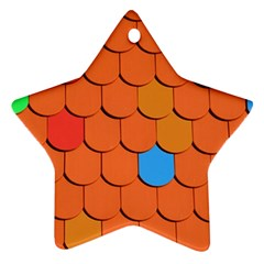 Roof Brick Colorful Red Roofing Star Ornament (two Sides) by Onesevenart
