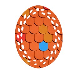 Roof Brick Colorful Red Roofing Ornament (oval Filigree) by Onesevenart