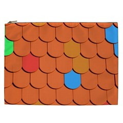 Roof Brick Colorful Red Roofing Cosmetic Bag (xxl)  by Onesevenart