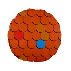 Roof Brick Colorful Red Roofing Standard 15  Premium Round Cushions by Onesevenart