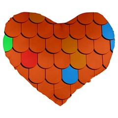 Roof Brick Colorful Red Roofing Large 19  Premium Flano Heart Shape Cushions by Onesevenart
