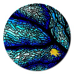 Sea Fans Diving Coral Stained Glass Magnet 5  (round) by Onesevenart